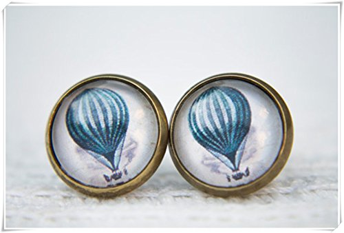 Elf House Oorbellen met warme luchtballon, blauwe oorbellen, oorbellen met glazen koepel, oorbellen, ballonnoppen, blauwe ballon