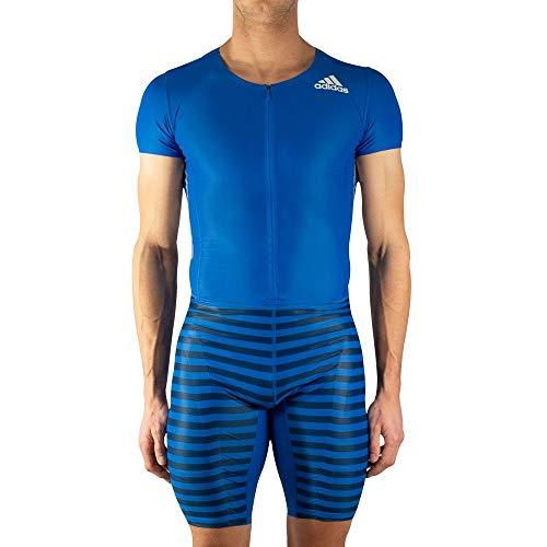 adidas Adizero korte mouw heren sprint pak - blauw-L
