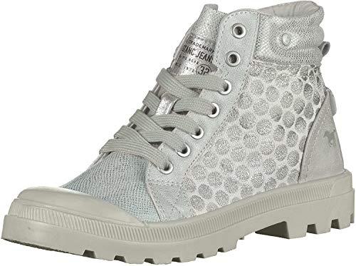Mustang Schuhe Damen Schnür Booty 1160-512 High Top Sneaker, Schuhgröße:39;Farbe:Silber