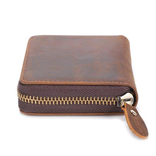 Kattee Unisex Vintage Look Genuine Leather Zipper Wallet Credit Card Holder Purse Photo #2