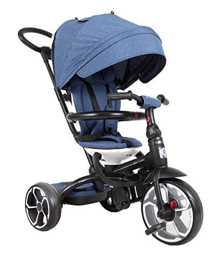 QPlay Kinder Luxus Dreirad Prime Blau mit UV-Dach, Freilauf, Lenkstange, Tasche