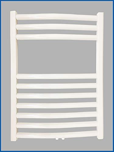 Radiateur de salle de bain Smyrne blanc 400 x 1600 mm courbe avec raccord central blanc