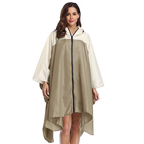 Summer Mae Regen Poncho Jacke Mantel für Erwachsene mit Kapuze wasserdicht mit Reißverschluss im Freien,Einheitsgröße,Hellbraun und Cremig-weiß