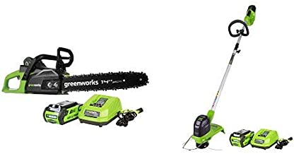 Greenworks 14-Inch 40V Cordless Chainsaw, 2.0 AH Battery Included CS40L210 with 12-Inch 40V Cordless String Trimmer, 2.0 AH Battery Included 2101602