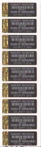 Etiquetas seguridad negras holograma dorado borde