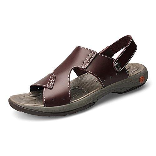 Y-hm diseño cómodo Sandalias de Playa de Cuero Reales de los Hombres con la Zapatilla Plana difusa Ajustable sin Espalda Salvaje (Color : Brown, Size : 6MUS)