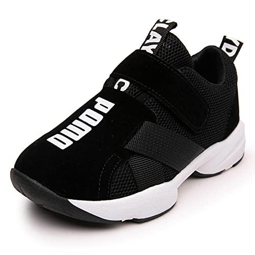 GUOCHENXY Scarpe Bambino Sportive Ginnastica Bambina Tennis Senza Lacci Leggere Sneaker Casual Unisex Bambini Nero 27EU