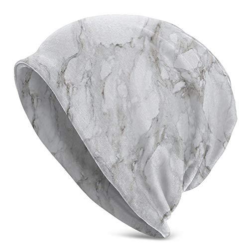 BGDFN Gorro de Punto de mármol Blanco Brillante Gorro cálido Gorros elásticos con puños Suaves Gorro Diario para Unisex