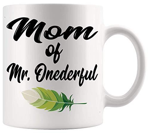 Funny Gag Sarcastic Mug Mom of MR Onederful Wonderful 1er cumpleaños niño Tazas blancas Tazas