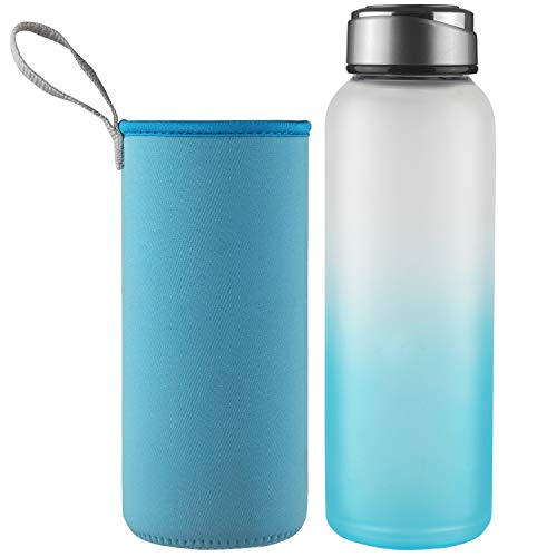 DEARRAY Sport Borosilicate Glass Water Bottle with Neoprene Sleeve and Stylish Stainless Steel Lid 32oz Blue