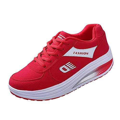 Aktiv Damenschuhe mit Spezial Rundsohle Gondelsohle, Mode Frauen Erhöhung weichen Boden Schaukelschuhe Turnschuhe Student Runing Schuh, Rot, 36 EU
