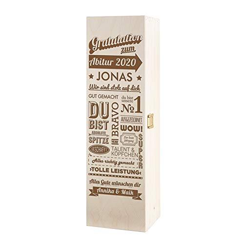 Casa Vivente Weinbox mit Gravur, Gratulation zum Abitur, Personalisiert mit Namen, Weinkiste aus Holz, Verpackung für Weinflasche