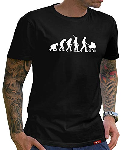 HARIZ Colección Papá - Camiseta para hombre, 36 diseños a elegir, negro, día del padre, Navidad, hombre, tarjeta de regalo Papa26 Evolution - Papá Noel XXXXXL
