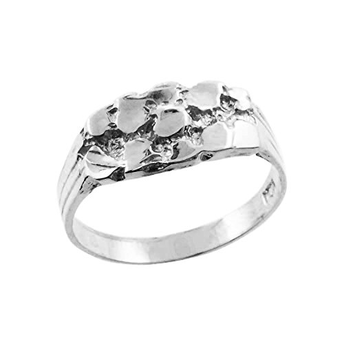 Nugget Rings High Polish Sterling Silver Solid Baby for Boys (Size 5)