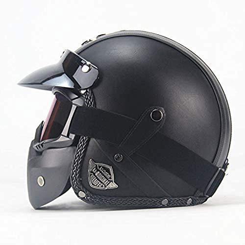 LWAJ Retro Casco Moto Abierto, Profesional Half Moto Cascos Helmet para Mujer y Hombre,Adultos Confortable Casco Moto Jet para Street Bike Cruiser Chopper Moped Scooter