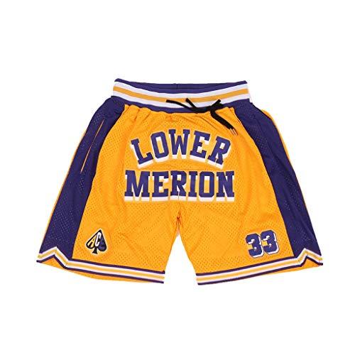 Short de sport pour homme - Bas Merion # 33 High School - Coutures, Homme, jaune, Small