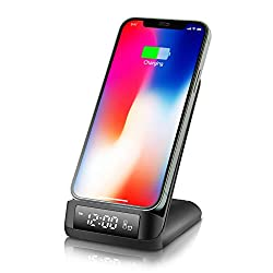 Wireless Charger Stand - ABSGON Alarm Clock with Wireless Charging for iPhone 12/12 Pro/ 12 Pro max/11/11 Pro Max/XR/Xs Max/XS/X/8 Plus/Galaxy S10/S9(Black)