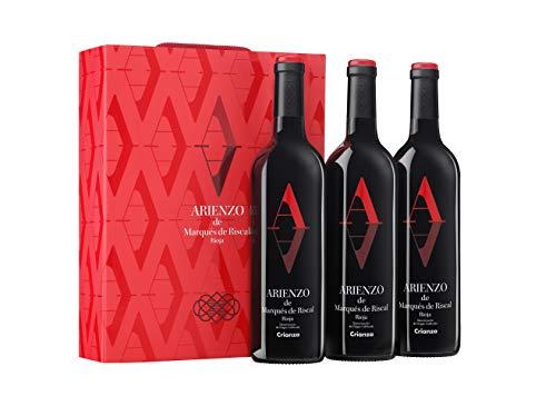 Arienzo de Marqués de Riscal - Vino tinto Crianza Denominación de Origen Calificada Rioja, Variedad Tempranillo, 18 meses en barrica - Estuche 3 botellas x 750 ml - Total 2250 ml