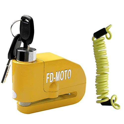 FD-MOTO Bloqueo de Seguridad de Motocicleta del Manillar Bloqueo de Palanca de Freno de Agarre Amarillo