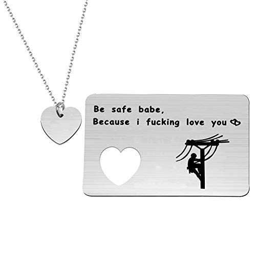 Lywjyb Birdgot Lineman Prayer Gifts Electricians Tower Techs Gifts Be Safe Babe Because I Fucking Love You Jewelry Set form Linewife Lineworker Gift for Boyfriend Husband (Lineman set)