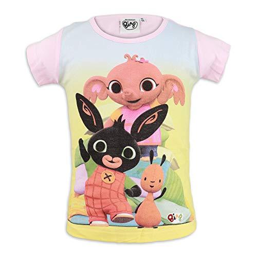 Bing Bunny - T-Shirt Maglia Maglietta Maniche Corte - Bambina Bambino - Cotone [0020 Rosa - 2 Anni]