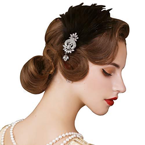 SWEETV 1920er Jahre Feder Kopfschmuck Flapper Stirnband, brüllende 20er Jahre Haarschmuck Great Gatsby Haarspange, Schwarz