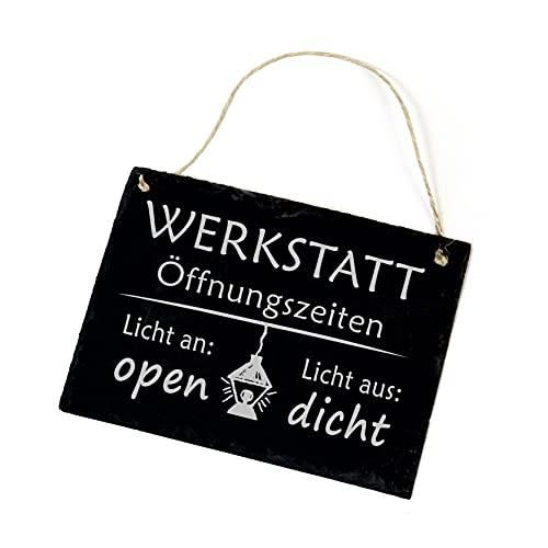 Werkstatt Öffnungszeiten - Licht an open/Licht aus dicht - Schiefer Schild 22x16cm | Dekolando