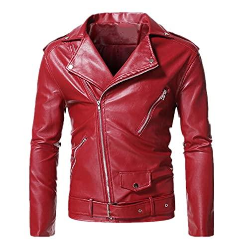 Ropa hombre negro rojo invierno color casual cremallera decoración abrigo, rosso, L