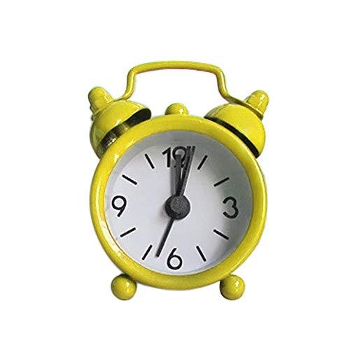 Creative Cute Mini Metall Kleiner Wecker Elektronischer Kleiner Wecker Erwachsene Reisen nach Hause Bett Schreibtisch Uhr Dekor Wecker-Gelb_Vereinigte Staaten
