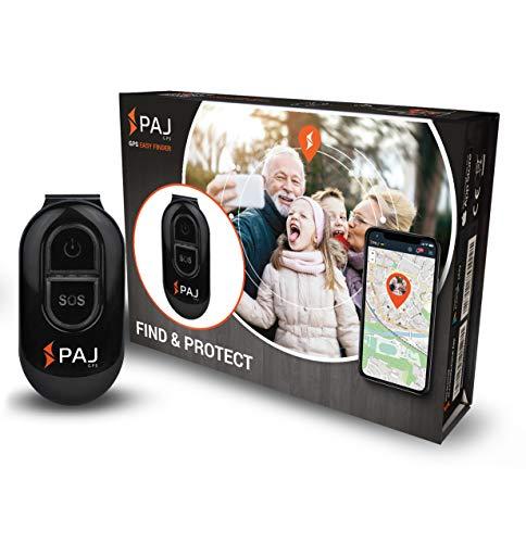Easy Finder de PAJ GPS- Mini Localizador GPS para niños, mayores, personas con Alzheimer- 5 días duración de batería- Seguimiento GPS en Tiempo Real con botón SOS de emergencia y protección de apagado