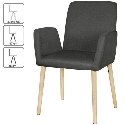 Wohnling Oslo Lot de 2 chaises de Salle à Manger avec accoudoirs Anthracite