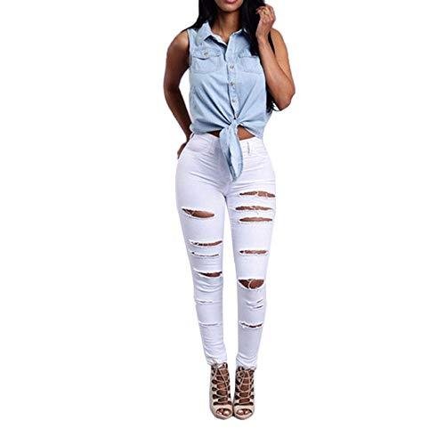 Damen Mittlere Taille Skinny Hole Denim Jeans Stretch Slim Hose Wadenlange Jeans