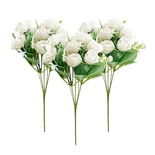 Rose Artificiali,JPYZ 3 Pezzi 10 Teste Rosa Finte Fiori Artificiali,Bouquet di Rose Rametti di Plastica Decorazione Realistica Finti Fiore per DIY Matrimoni Mazzi Nuziale Festa Casa Stanza Decorazioni