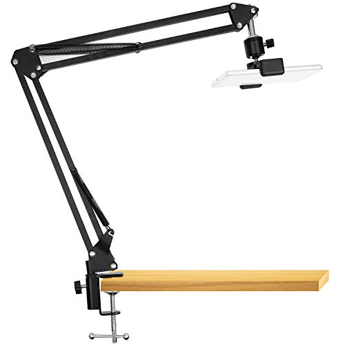 Overhead Video Stand Phone Holder Articulating Arm Phone Mount Table Top ChromLives Scissor Boom Arm Articulating Phone Stand Tablet Phone Holder for Streaming Phone Baking Crafting