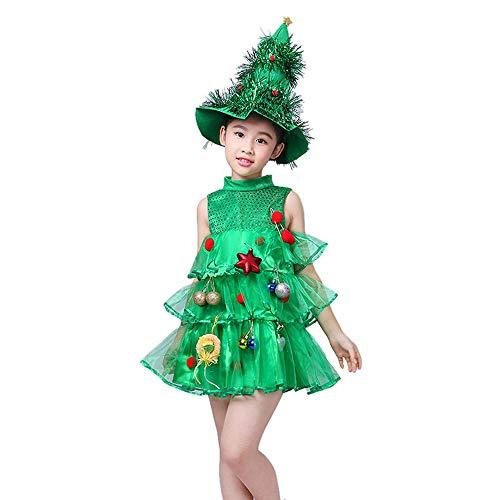 Sawera Bambino Costume Cosplay di Natale Albero di Natale Vestito Cappello Ragazze Abiti Gonne Tutu Maglione Regalo per Bambini Natale, Festa, Cerimonia (6-10 Anni)