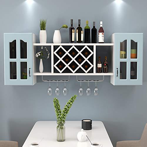 Wijnrek Creatieve wijnkoeler rekken muur opknoping kast muur minimalistische levende drank diamant rooster wanddecoratie, kleur: lengte breedte 140 30 60 Warm Wit hoge glazen deuren