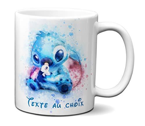 Idcase MUG Tasse en céramique café - Made in France -Personnalisable avec Texte aux Choix - Livraison Express - Promo - Aquarelle Pastel Ohana Stitch