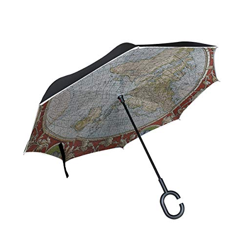 FAJRO Regenschirm mit Puzzlekarte, doppelschichtig, umgekehrter Regenschirm, Winddicht, UV-Schutz, Polyester, Gerader Regenschirm für Auto mit C-förmigem Griff