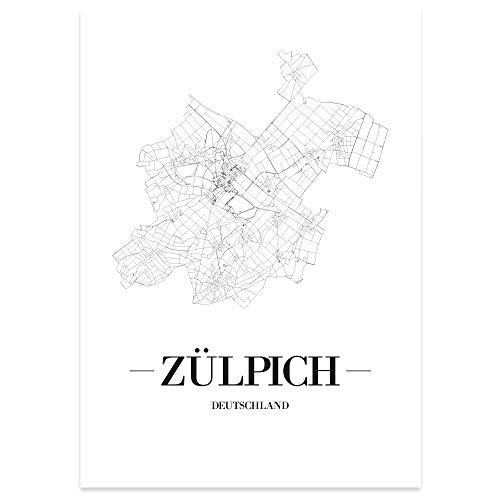 JUNIWORDS Stadtposter, Zülpich, Wähle eine Größe, 21 x 30 cm, Poster, Schrift A, Weiß