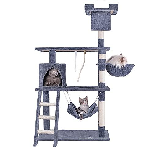 HOMIDEC Árbol para Gato, 142 cm Estable Rascador Torre de Escalada con Cueva para Gatos, Nidos, Hamaca, Plataformas, Escalera, Cuerda de Juguete, Gran Base y Poste Rascador de sisal para Gatos
