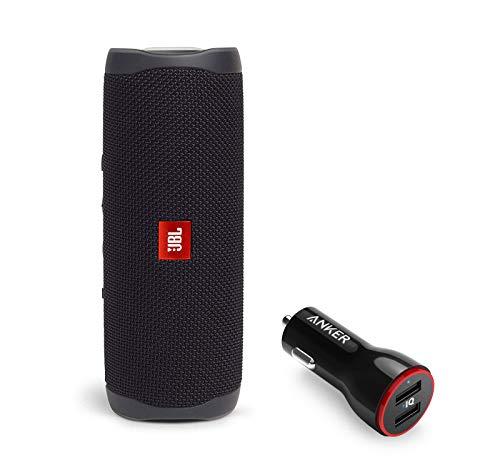 JBL Flip 5 Waterproof Portable Wireless Bluetooth Speaker Bundle with 2-Port USB Car Charger - Black