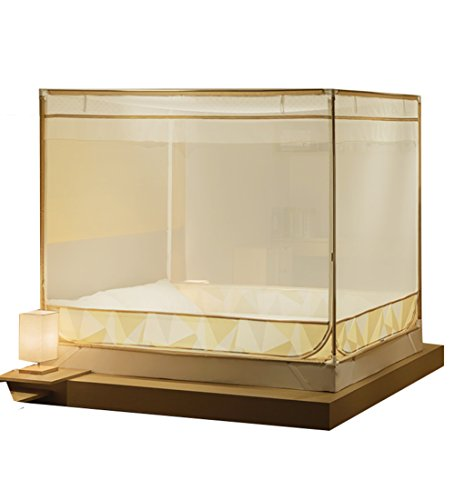 LIQICAI 3 Türen für Moskitonetz Insect Bug Protection Bettüberdachung Dick Dichtes Netz, Pratique 3 Portes 2 Couleurs 6 Taille en Option (Farbe : Gold, größe : 1.80x2.20x1.55m)