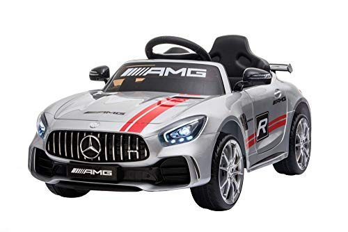 Mercedes Benz GTR AMG Licenced Two Motors Battery Powered Kids Electric Ride On Toy Car (SILVER)