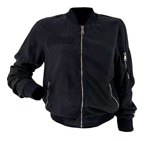 JOPHY & CO. Sudadera de mujer ligera transparente sin capucha con cremallera y bolsillos laterales y bolsillo en el brazo (cód. 2515) Negro M