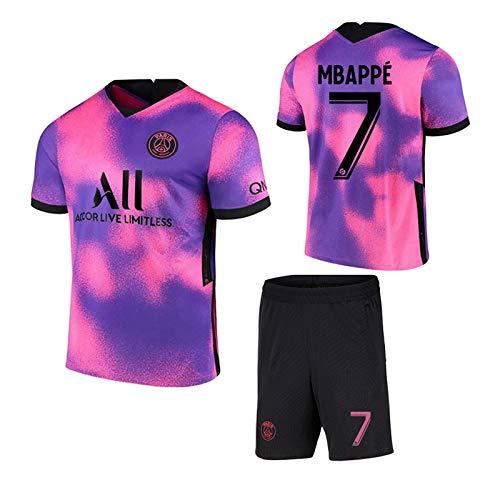 Fun Fußballtrikot Paris Saint-Germain Auswärts # 7# 10 Mbappé Pink Lila Fußballtrikots Set Sporttraining T-Shirt und Shorts Set für Erwachsene und Kinder