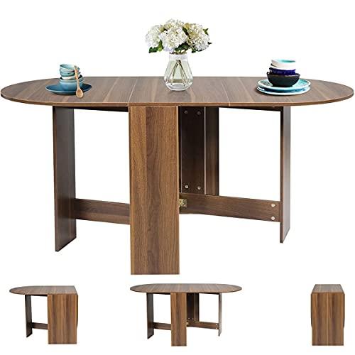 RELAX4LIFE Table de Cuisine Extensible en Bois pour 6 Personnes, Table à Manger Ovale Moderne Idéal pour Poste de Travail, Bureau