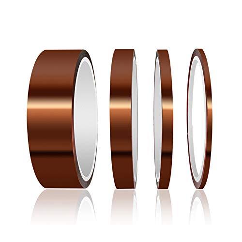 ELEGOO 33M Polyimide Tape Nastro Resistenti ad Alta Temperatura con Adesivo in Silicone per la Mascheratura, la Saldatura, Schede di sublimazione e Isolamento(3.2mm 6.4mm 12.8mm 25.6mm)