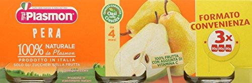 Plasmon Omogeneizzato di Frutta, Pera - 24 Vasetti da 80 gr