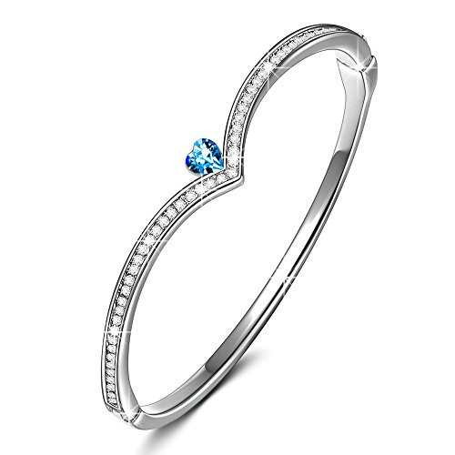 LADY COLOUR Blue Heart Bangle Bracelet Anniversary Women Gifts for Her Crystals Bangle White Gold Plated Jewelry for Women Birthday Gifts for Girlfriend...