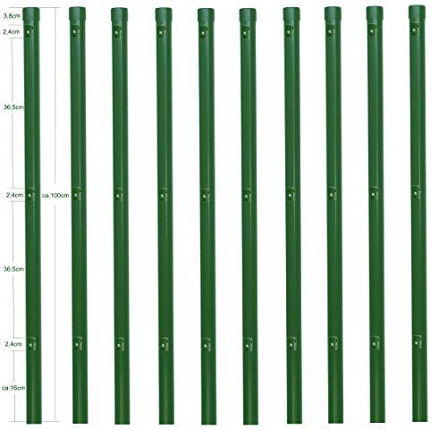 10 Stück Zaunpfosten Ø 34 mm für 80cm hohe Zaunanlagen grün RAL 6005. Incl. 3 montierter Spanndrahthalter und Pfostenkappe. Pfosten Länge 100cm für Montage in Einschlaghülse.
